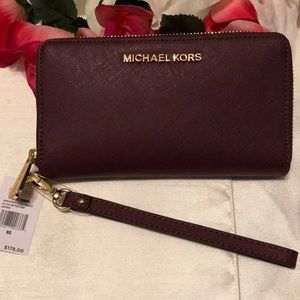 Michael Kors Color Merlot Leather Wallet